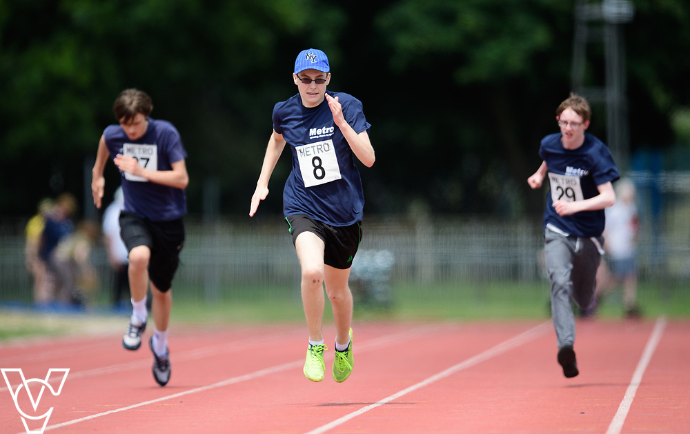 Metro Blind Sport's 2017 Athletics Open held at Mile End Stadium.  100m.  From left, Andrew Lancaster, Luke Boulding and Steven Magee <br /> <br /> Picture: Chris Vaughan Photography for Metro Blind Sport<br /> Date: June 17, 2017