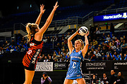 Shannon Francois of the Southern Steel is blocked by ]Zoe Walker of the Tactix during the ANZ Netball Premiership match, Tactix v Steel, Horncastle Arena, Christchurch, New Zealand, 19th April 2017.Copyright photo: John Davidson / www.photosport.nz
