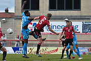 Barnet Defender, Ricardo Santos (5) and Morecambe Defender, Steven Old (5)  during the EFL Sky Bet League 2 match between Morecambe and Barnet at the Globe Arena, Morecambe, England on 28 April 2018. Picture by Mark Pollitt.