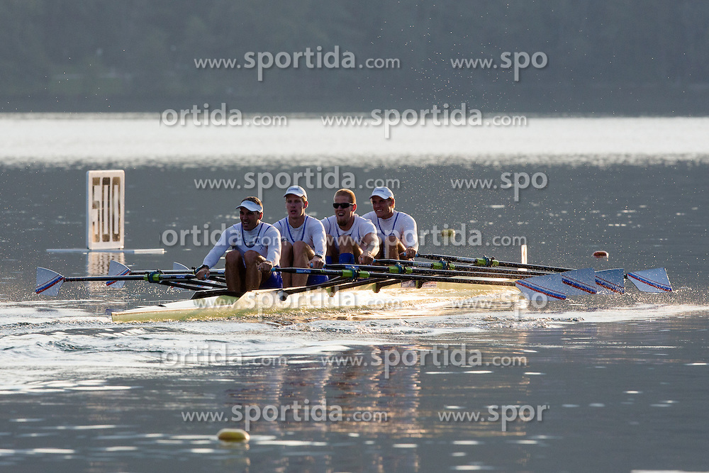 Ales Zupan, Jernej Markovc, Jan Spik and Tomaz Pirih in category M4x (Coxed four) during rowing at Slovenian National Championship and farewell of Iztok Cop, on September 22, 2012 at Lake Bled, Ljubljana Slovenia. (Photo By Matic Klansek Velej / Sportida)