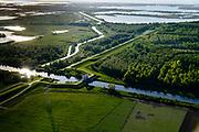 Nederland, Flevoland, Lelystad, 07-05-2018; Knardijk met Lage Knarsluis en Lage Vaart, zicht op Keersluisplas en Oostvaardersplassen, Oostelijk Flevoland.<br /> Eastern Flevoland.<br /> luchtfoto (toeslag op standard tarieven);<br /> aerial photo (additional fee required);<br /> copyright foto/photo Siebe Swart
