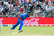 Dawlat Zadran of Afghanistan bowling during the ICC Cricket World Cup 2019 match between Afghanistan and Australia at the Bristol County Ground, Bristol, United Kingdom on 1 June 2019.