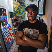 BALTIMORE, MD - FEB23: Chris Wilson, 38, a business owner in Baltimore, stands in the One Twenty studio in the Station North arts district in Baltimore, MD, where his company built partition walls to divide the artist's space. Wilson went to prison at age 17 for murder, but got his associates degree while in prison and was able to attend the University of Baltimore after his release. He testified in Annapolis about the ban the box movement in Maryland which would remove the question about a person's criminal history from college applications.(Photo by Evelyn Hockstein/For The Washington Post)