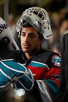 KELOWNA, BC - NOVEMBER 8:  Roman Basran #30 of the Kelowna Rockets stands on the bench during the final minutes of the game against the Medicine Hat Tigers at Prospera Place on November 8, 2019 in Kelowna, Canada. (Photo by Marissa Baecker/Shoot the Breeze)