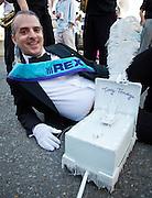 Krewe member Jonathan Traviesa at the 'tit Rex micro Mardi Gras parade
