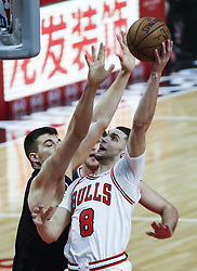 March 15, 2019 - Los Angeles, California, U.S - Chicago Bulls' Zach LaVine (8) goes to basket during an NBA basketball game between Los Angeles Clippers and Chicago Bulls Friday, March 15, 2019, in Los Angeles. The Clippers won 128-121. (Credit Image: © Ringo Chiu/ZUMA Wire)