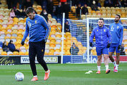 Mansfield Town forward Andy Cook (19) warming up before the EFL Sky Bet League 2 match between Mansfield Town and Grimsby Town FC at the One Call Stadium, Mansfield, England on 4 January 2020.