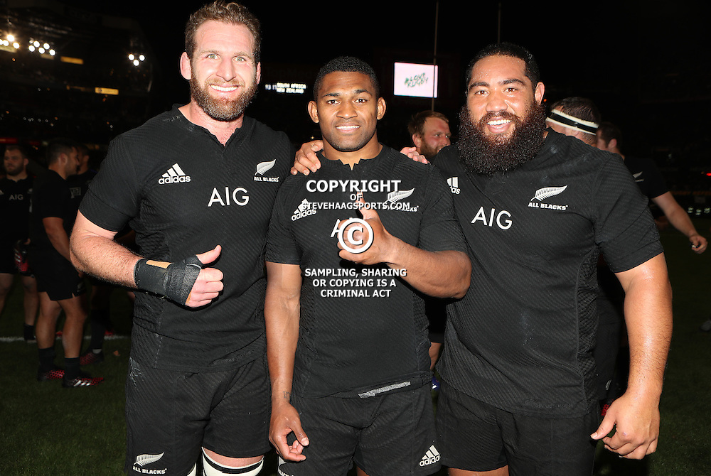 DURBAN, SOUTH AFRICA, 8 October, 2016 - Kieran Read (captain) of New Zealand with Waisake Naholo of New Zealand and Charlie Faumuina of New Zealand during the Rugby Championship match between South Africa and New Zealand at Kings Park in Durban, South Africa. (Photo by Steve Haag)