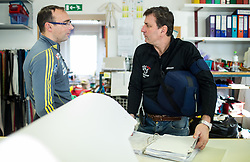 Coach Gorazd Bertoncelj and Dare Svetina at Production of Ski Jumping suits at Dali sport d.o.o., on December 6, 2016 in Lesce, Slovenia. Photo by Vid Ponikvar / Sportida