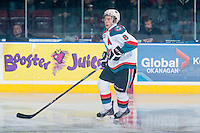 KELOWNA, CANADA - FEBRUARY 14: Colten Martin #8 of Kelowna Rockets skates against the Moose Jaw Warriors on February 14, 2015 at Prospera Place in Kelowna, British Columbia, Canada.  (Photo by Marissa Baecker/Shoot the Breeze)  *** Local Caption *** Colten Martin;