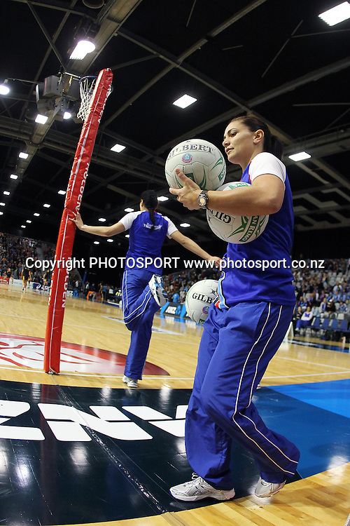 Mystics' Temepara George arranges for the team's warm up. ANZ Netball Championship, Preliminary Final, Waikato/BOP Magic v LG Northern Mystics. Mystery Creek Events Centre, Hamilton, New Zealand. Sunday 15th May 2011. Photo: Anthony Au-Yeung / photosport.co.nz
