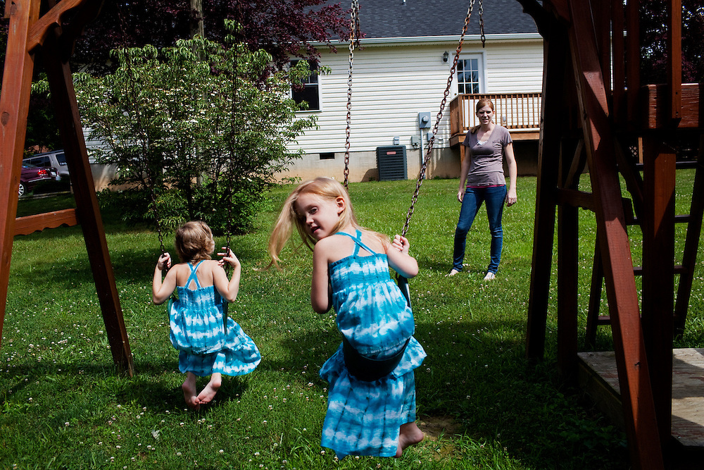 Karen Kudro and her daughters, Hayley, 6, and Aubrey, 4, (looking back) in Waynesboro, Virginia on Wednesday, June 15, 2011. Hayley, then 5, was diagnosed with a softball-sized mass near her liver that turned out to be neuroblastoma in September of 2009.