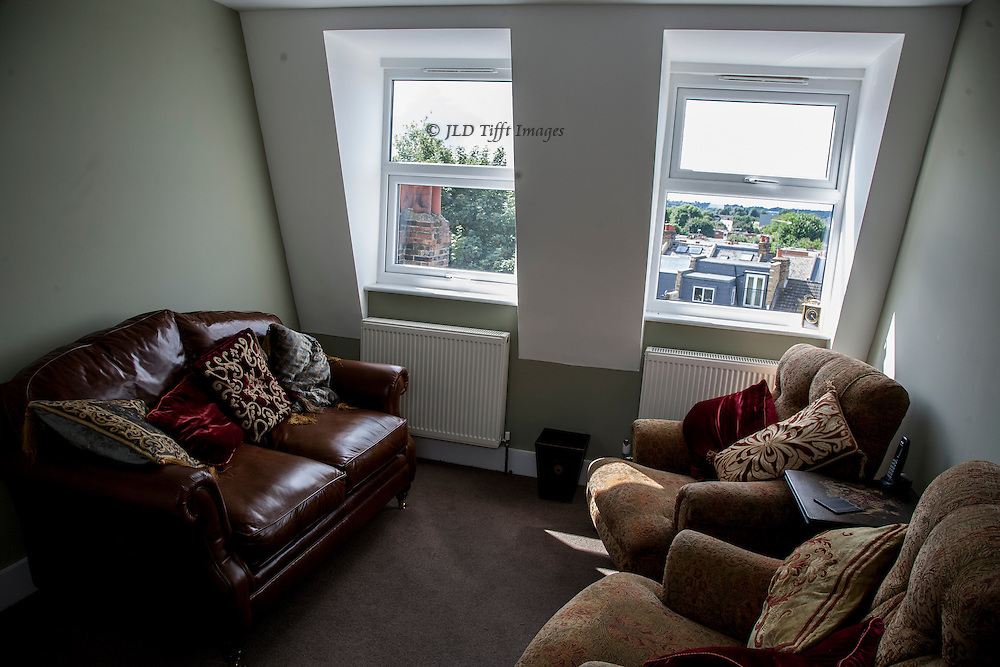 The new top room, looking toward the garden windows.