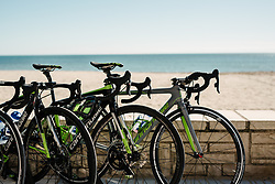 Cannondale's line up by the beach for a coffee stop - Cylance Pro Cycling Pre Season Camp 2018 - Cambrils Training Ride