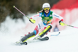 "Aline Danioth (SUI) in action during 1st Run of the FIS Alpine Ski World Cup 2017/18 7th Ladies' Slalom race named ""Golden Fox 2018"", on January 7, 2018 in Podkoren, Kranjska Gora, Slovenia. Photo by Ziga Zupan / Sportida"