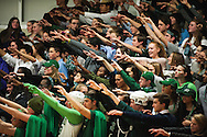 Rice fans hold up their hands during a free throw attempt during the boys basketball game between the Burlington Seahorses and the Rice Green knights at Rice Memorial high School on Thursday night January 7, 2016 in South Burlington. (BRIAN JENKINS/for the FREE PRESS)