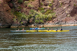 Kayaking, no model release, on the Colorado River below Hoover Dam on border of Arizona, AZ, Nevada, NV, tourism, vacation, sports, action, image nv417-18671.Photo copyright: Lee Foster, www.fostertravel.com, lee@fostertravel.com, 510-549-2202