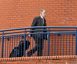 Pictured: Donald Findlay QC arrives at the inquiry.<br /> <br /> The long awaited Fatal Accident Inquiry into the 2013 accident, where a police helicopter crashed into the Clutha Bar in Glasgow, killing all three helicopter crew and seven customers in the bar, opened at Hamden Park in front of Sheriff Principal Craig Turnbull.<br /> <br /> © Dave Johnston / EEm