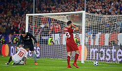 SEVILLE, SPAIN - Tuesday, November 21, 2017: Liverpool's Emre Can  missing a chance during the UEFA Champions League Group E match between Sevilla FC and Liverpool FC at the Estadio Ramón Sánchez Pizjuán. (Pic by David Rawcliffe/Propaganda)