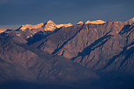 Morning light on east slope of the Sierra Nevada near Big Pine, seen from the White Mountains, CALIFORNIA