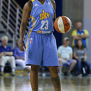 Chicago Sky Guard Cappie Pondexter (23) dribbles the ball up court in the first period of a WNBA preseason basketball game between the Chicago Sky and the New York Liberty Friday, May. 22, 2015 at The Bob Carpenter Sports Convocation Center in Newark, DEL