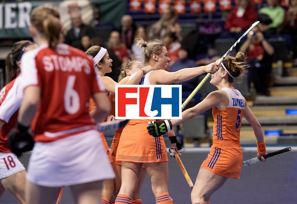 BERLIN - Indoor Hockey World Cup<br /> Women: Netherlands - Switzerland<br /> foto: Lieke van Wijk scored the 1-0.<br /> WORLDSPORTPICS COPYRIGHT FRANK UIJLENBROEK