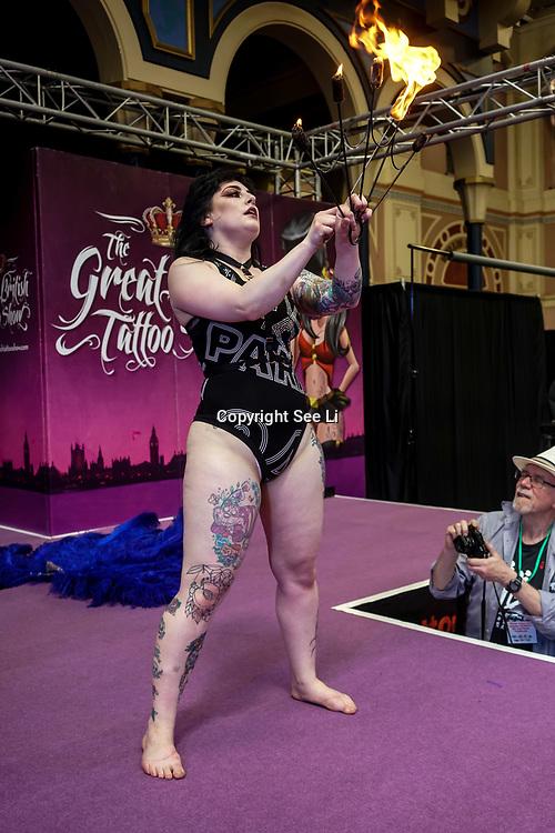 London, UK. 27 May 2017. Aurora Galore prefroms at The Great British Tattoo Show at Alexandra Palace, London,UK