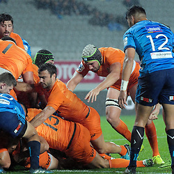 Agustin Creevy scores during the Super Rugby match between the Blues and Jaguares at Eden Park in Auckland, New Zealand on Friday, 28 April 2018. Photo: Dave Lintott / lintottphoto.co.nz