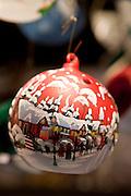 Christmas tree bauble snow scene at Christmas market, Winter Wonderland, in Hyde Park, London