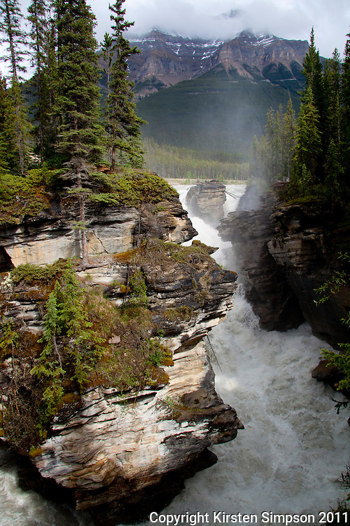 The Athabasca Falls on the Icefields Parkway