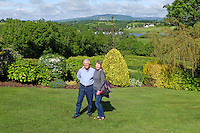 Bob & Suzanne Collum, USA visitors from Maui, Hawaii, right, at Willowbank House Bed & Breakfast, Bellevue Road, Enniskillen, Co Fermanagh, Northern Ireland, BT74 4JH, UK, 20th June 2015, 201506201142<br />