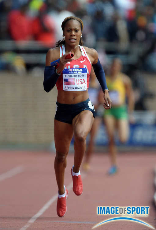 Apr 28, 2012; Philadelphia, PA, USA; Sanya Richards-Ross runs the anchor leg on the USA Red womens 4 x 400m relay team to victory in the USA vs The World race in 3:21.18 in the 118th Penn Relays at Franklin Field.