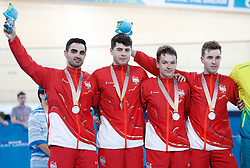 Left to right, England's Kian Emadi, Charlie Tanfield, Ethan Hayter and Oliver Wood on the podium with their silver medals after the Men's 4000m Team Pursuit Finals Gold Medal Race at the Anna Meares Velodrome during day one of the 2018 Commonwealth Games in the Gold Coast, Australia.