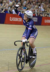 France's Mathilde Gros after winning the Bronze Medal in the Womens Sprint Final during day four of the 2018 European Championships at the Sir Chris Hoy Velodrome, Glasgow. PRESS ASSOCIATION Photo. Picture date: Sunday August 5, 2018. See PA story CYCLING European. Photo credit should read: Jane Barlow/PA Wire. RESTRICTIONS: Editorial use only, no commercial use without prior permission