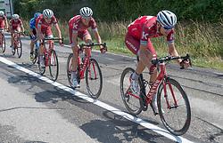 08.07.2017, Wels, AUT, Ö-Tour, Österreich Radrundfahrt 2017, 6. Etappe von St. Johann/Alpendorf nach Wels (203,9 km), im Bild v.l. Ilnur Zakarin (RUS, Team Katusha - Alpecin), Rein Taaramae (EST, Team Katusha Alpecin // f.l. Ilnur Zakarin of Russian Federation (Team Katusha Alpecin) Pavel Kochetkov of Russia (Team Katusha Alpecin) Rein Taaramae of Estonia (Team Katusha Alpecin) during the 6th stage from St. Johann/Alpendorf to Wels (203,9 km) of 2017 Tour of Austria. Wels, Austria on 2017/07/08. EXPA Pictures © 2017, PhotoCredit: EXPA/ Reinhard Eisenbauer