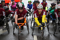Competitors wait at the start of the boys and girls wheelchair race. The Virgin Money London Marathon, Sunday 26th April 2015.<br /> <br /> Photo: Jed Leicester for Virgin Money London Marathon<br /> <br /> For more information please contact Penny Dain at pennyd@london-marathon.co.uk
