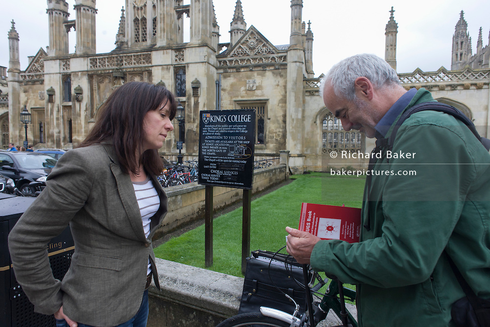 Writer Polly Morland with Mathematician and Risk guru, Professor David Spiegelhalter, at the Centre for Mathematical Sciences at the University of Cambridge, for the chapter entitled 'Possible Futures' and from the book 'Risk Wise: Nine Everyday Adventures' by Polly Morland (Allianz, The School of Life, Profile Books, 2015).