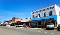 06 February 2015. Monroeville, Alabama.<br /> On the trail of Harper Lee's 'To Kill a Mocking Bird.'<br /> The old historic downtown store facades have not changed much over the years.<br /> Photo; Charlie Varley/varleypix.com