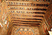 Africa, Ethiopia, Gondar, Painted ceiling in the Church of Debre Birhan Selassie, painting of 80 cherubic faces,