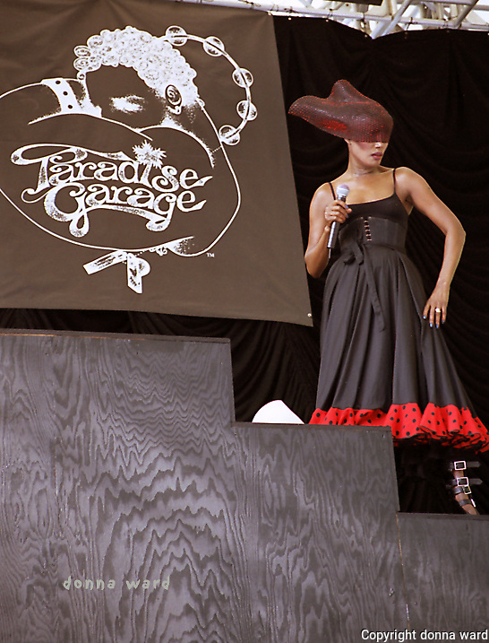 Singer Grace Jones performs to celebrate the Paradise Garage at SummerStage in Central Park on June 29, 2003.