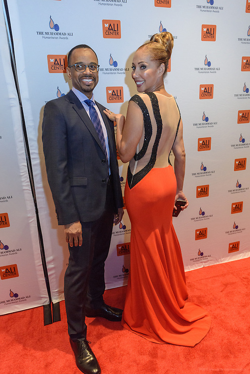 Rudy Gaskins and his wife on the red carpet at the fourth annual Muhammad Ali Humanitarian Awards Saturday, Sept. 17, 2016 at the Marriott Hotel in Louisville, Ky. (Photo by Brian Bohannon for the Muhammad Ali Center)