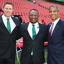 Jean de Villiers Supersport rugby commentator with Xola Ntshinga Supersport rugby commentator and Jeremy Guscott rugby commentator during the 2018 Castle Lager Incoming Series 1st Test match between South Africa and England at Emirates Airline Park,<br /> Johannesburg.South Africa. 09,06,2018 Photo by (Steve Haag Sports)