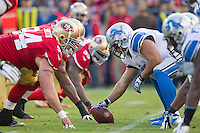 16 September 2012: Center (51) Dominic Raiola of the Detroit Lions lines up against the San Francisco 49ers during the first half of the 49ers 27-19 victory against the Lions in an NFL football game at Candlestick Park in San Francisco, CA.