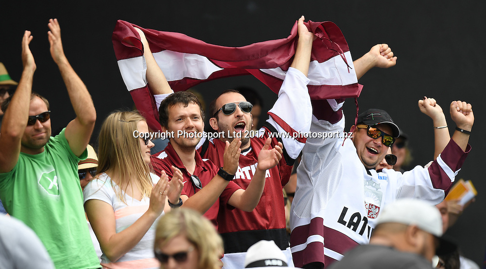 Latvia fans during Jelena Ostapenko's first round singles match at the ASB Classic. WTA Womens Tournament. ASB Tennis Centre, Auckland, New Zealand. Tuesday 3 January 2017. © Copyright photo: Andrew Cornaga / www.photosport.nz