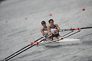 Lucerne, SWITZERLAND. USA W2X, [LW2X] Bow, Renee HYKEL and Jennifer GOLDSACK,  {selected USA LW2X for Qualification Regatta Poznan]  move away from the start in their afternoon semi final, at the  2008 FISA World Cup Regatta, Round 2.  Lake Rotsee, on Saturday, 31/05/2008.  [Mandatory Credit:  Peter Spurrier/Intersport Images].Lucerne International Regatta. Rowing Course, Lake Rottsee, Lucerne, SWITZERLAND.