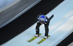 March 22, 2019 - Planica, Slovenia - A Ski jumper seen in action during the trial round of the FIS Ski Jumping World Cup Flying Hill Individual competition in Planica. (Credit Image: © Milos Vujinovic/SOPA Images via ZUMA Wire)