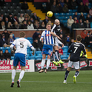 Dundee&rsquo;s Gary Harkins outjumps Kilmarnock&rsquo;s Kevin McHattie - Kilmarnock v Dundee, Ladbrokes Premiership at Rugby Park<br /> <br />  - &copy; David Young - www.davidyoungphoto.co.uk - email: davidyoungphoto@gmail.com