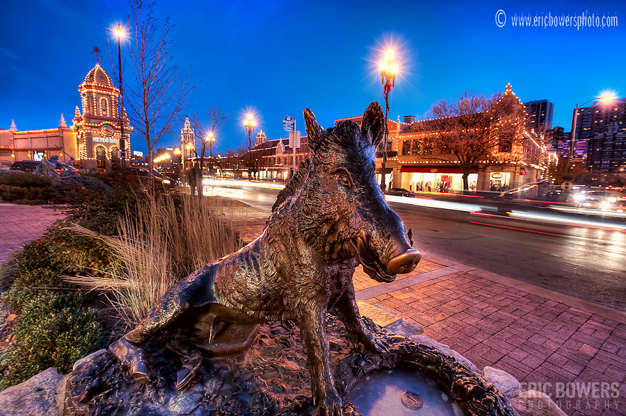 Sculpture along 47th Street in Kansas City, Missouri. Plaza Lights lit up for the holiday season.