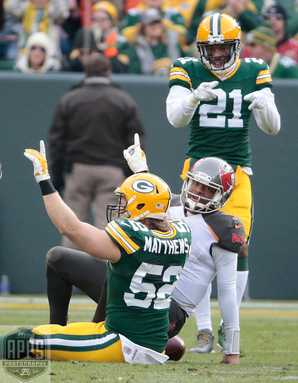 Green Bay Packers outside linebacker Clay Matthews (52) sacked Tampa Bay Buccaneers quarterback Jameis Winston (3) for no yards in the 2nd quarter. <br /> The Green Bay Packers hosted the Tampa Bay Buccaneers at Lambeau Field in Green Bay,  Sunday, Dec. 3, 2017.  STEVE APPS FOR THE STATE JOURNAL.