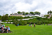 View of Fort Mackinac from just off of Main Street, with tourists, Mackinac Island, Michigan, USA.